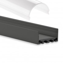 PN4 Minkar C4 Schwarz Pulverbeschichtigt Aluminium Profil f. LED Streifen 2m + Abdeckung Opal