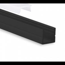 P20 Sarin schmales LED Aluminium Profil schwarz inkl. Abdeckung Opal
