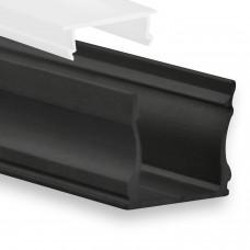 P22 Ran LED Aluminium Profil inkl. Abdeckung Opal Profilbündig Schwarz