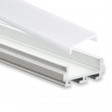 PL6 Nash Aluminium Profil f. LED Streifen 2m + Abdeckung Opal C1