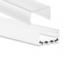 PN4 Kuma C2 Weiß Pulverbeschichtigt Aluminium Profil f. LED Streifen 2m + Abdeckung Opal