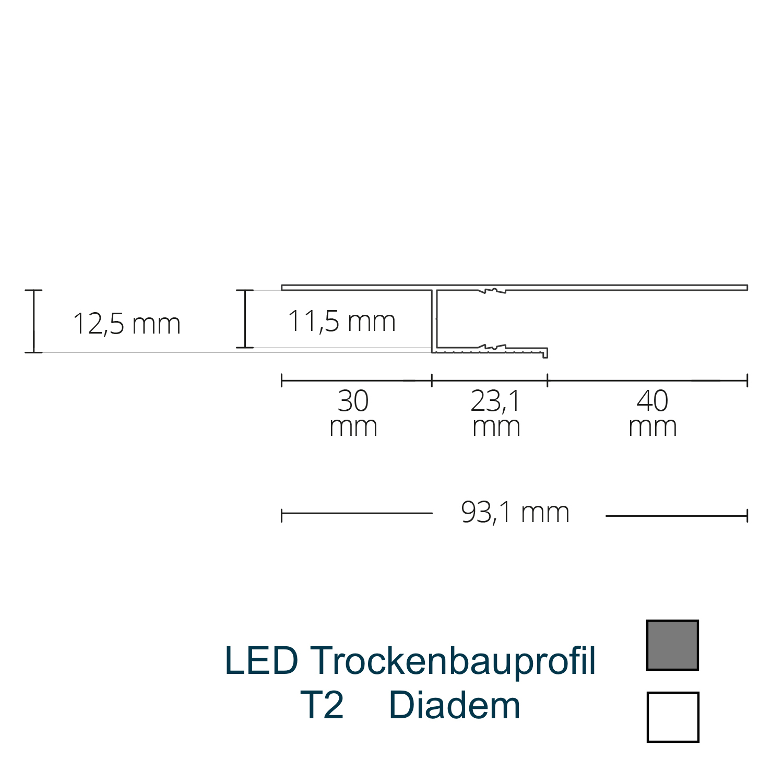 T2 LED-Trockenbauprofil